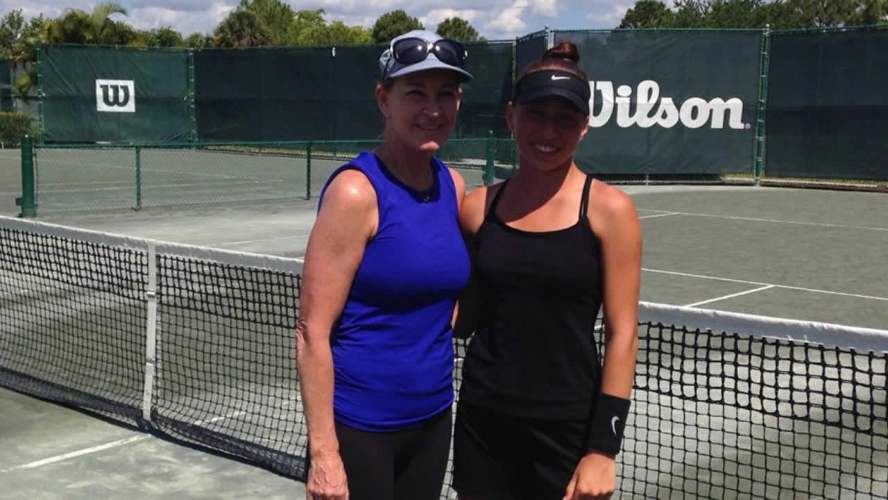 Nikki Yanez Meeting Chrissie Evert at USTA National Camp